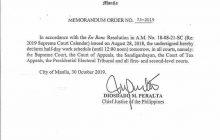 Pasok sa mga Korte bukas, October 31 hanggang alas-12:00 ng tanghali lamang
